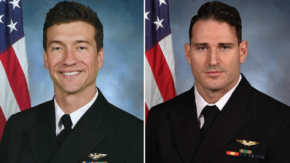 The U.S. Navy identified Lt. Cmdr. James Brice Johnson, left, and Lt. Caleb Nathaniel King as the aviators who died in a F/A-18 jet crash Wednesday in Key West, Fla.