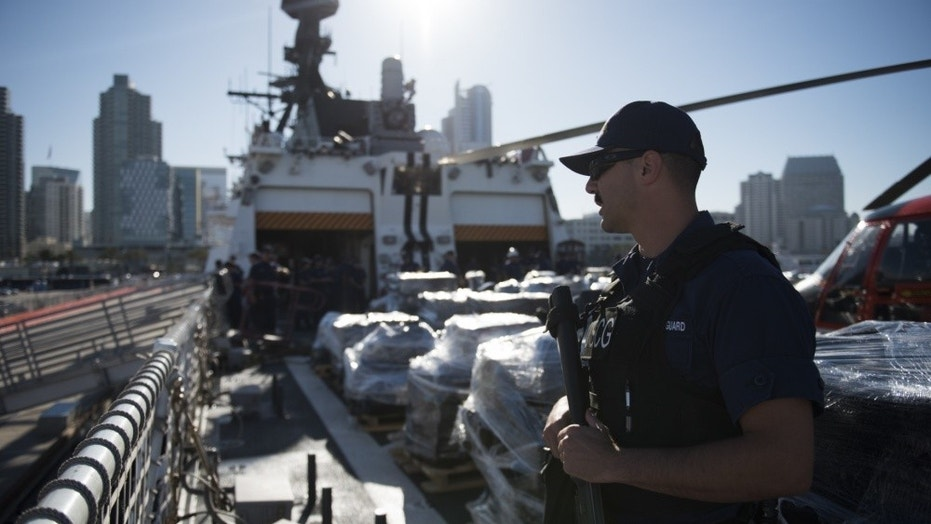 The U.S. Coast Guard on Tuesday offloaded roughly 36,000 pounds of cocaine onto San Diego's B Street pier.