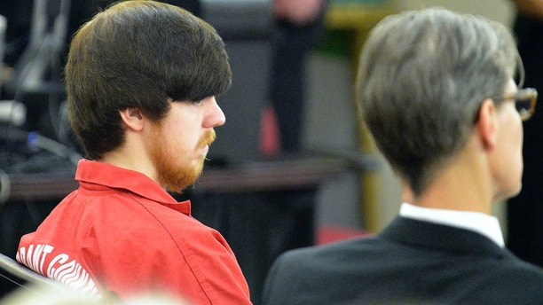 "Ethan Couch (L),  the so-called ""affluenza"" teen, is seated next to his attorney Scott Brown as he appears in his first adult court hearing in Fort Worth, Texas April 13, 2016.  A Texas county judge sentenced Couch on Wednesday to serve four consecutive 180-day terms in jail for violating a juvenile probation deal that kept him out of prison after he killed four people while driving drunk in 2013.  REUTERS/Fort Worth Star-Telegram/Max Faulkner/Pool - TM3EC4D13RB01"