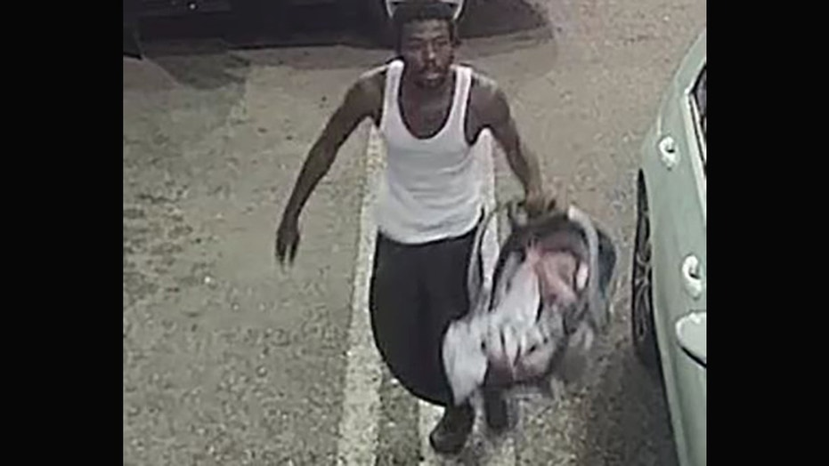 A man suspected of stealing a car at a Florida gas station with an infant inside Tuesday handed the baby to a clerk before taking off, police said.