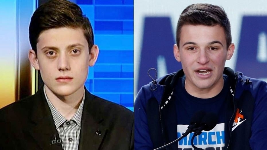 Cameron Kasky (right), who agreed to a live debate over his conflicting views on arms reform with Marjory Stoneman-Douglas disciple Kyle Kashuv, has withdrawn from the deal, which agreed with