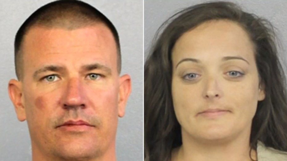 Michael Kennedy, 37, and Kara O'Neil, 40, were arrested Sunday after witnesses said they spotted the pair stealing mementos placed at a memorial at Marjory Stoneman Douglas High School.