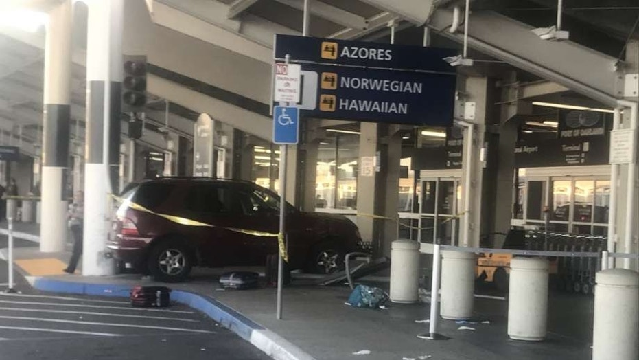 A crash at Oakland International Airport injured two pedestrians Tuesday evening, authorities said.