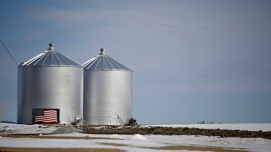 A U.S. flag is seen on the side of grain silo in Marshalltown, Iowa, earlier this month.