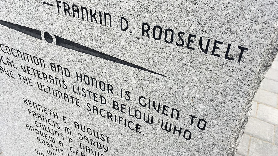 """The """"L"""" in Franklin D. Roosevelt's name is missing on this newly-installed veterans memorial in East Windsor, Conn."""