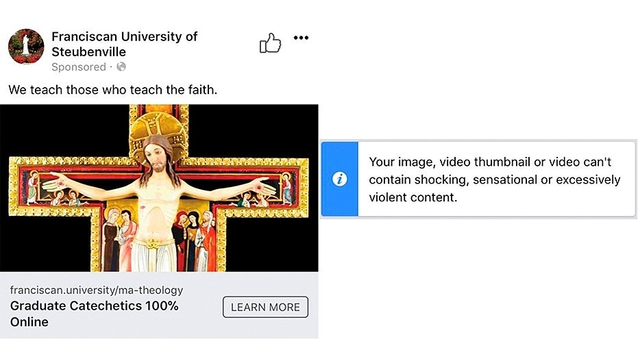 Facebook apologized for rejecting an ad on Good Friday from a Catholic university depicting Jesus on a cross.