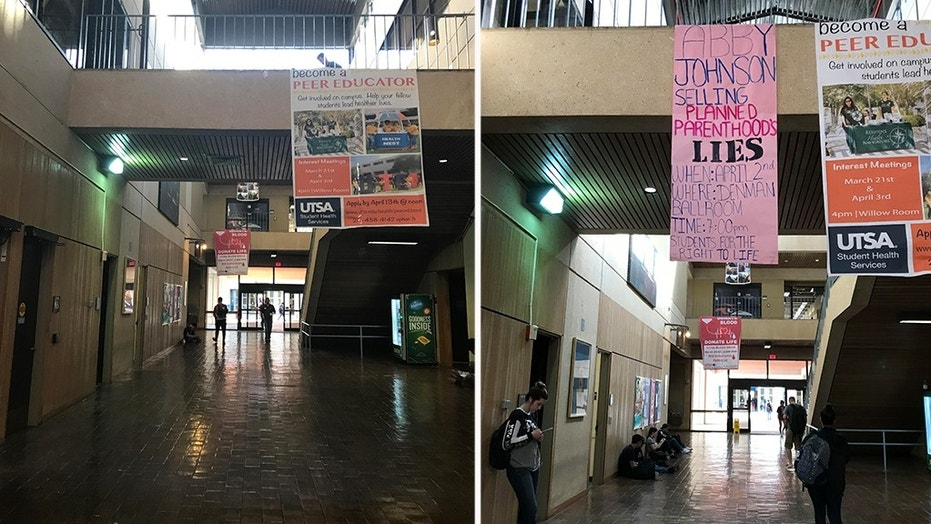 Pro-life students at University of Texas at San Antonio noticed their banner promoting an upcoming speaker had been stolen Friday.