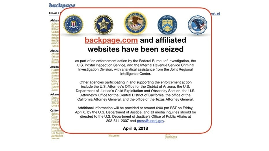 This FBI notice was posted to Backpage.com on Friday after federal authorities seized the domain and affiliated sites.