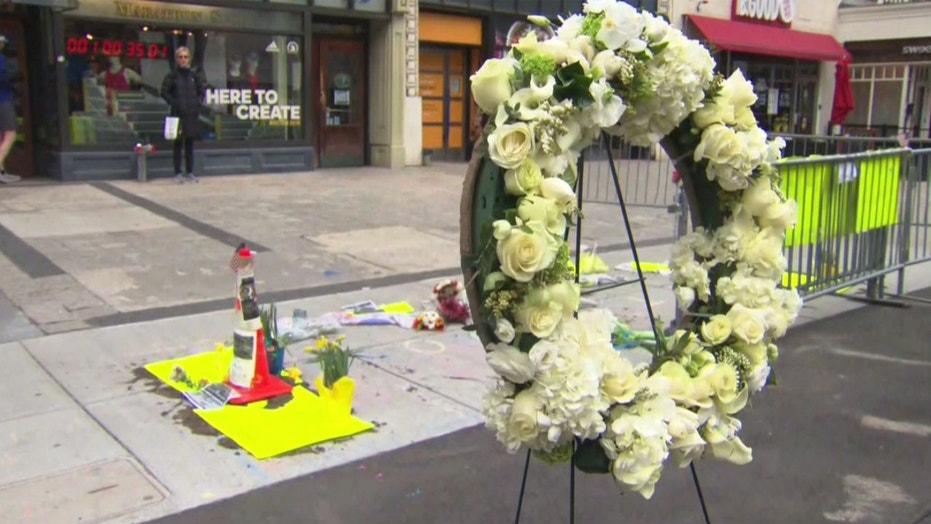 A wreath is displayed at the memorial site in Boston where one of the bombs exploded in 2013 at the Boston Marathon.