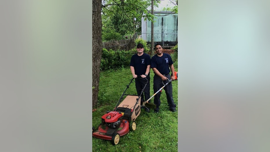 Birmingham Firefighters Tommy Carter and Timothy Kennedy helped mow the law of a military veteran after he was transported to the hospital with chest pains.