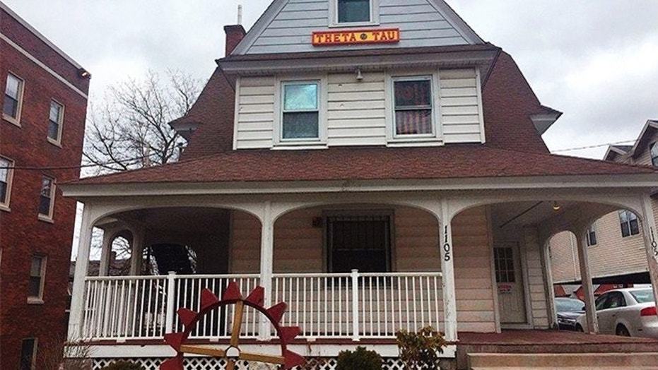 April 18, 2018: The Theta Tau fraternity house in Syracuse, N.Y. Syracuse University President and Chancellor Kent Syverud announced Wednesday that the fraternity was suspended over videos with racist and sexist content.