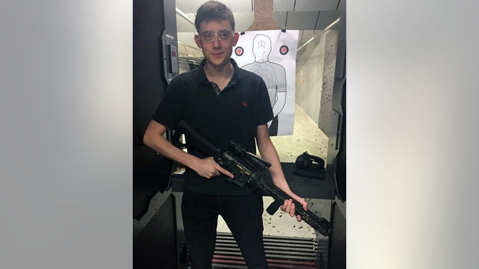 Kyle Kashuv poses at a Florida gun range this past Friday.