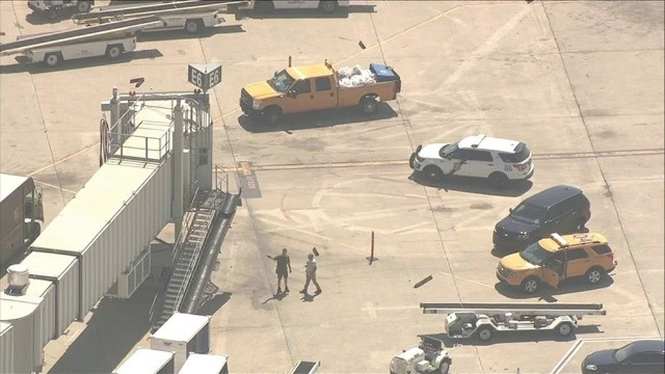 A Frontiers Airlines employee was stabbed by a coworker on Thursday, police said.