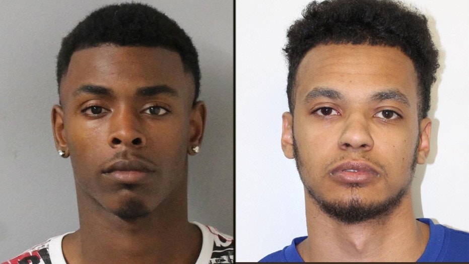Police said Demarco Churchwell (left) was fatally wounded in the shooting and identified the suspect as Justin Golson (right).