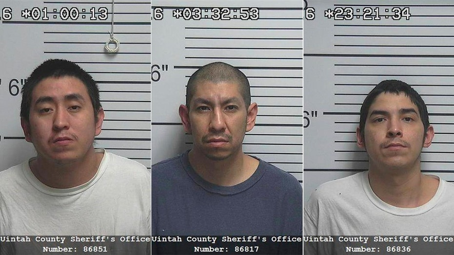 Larson RonDeau (center), 38, Randall Flatlip (left), 28, and Jerry Flatlip (right), 31, have been accused of raping the young Utah girl after an Easter-egg hunt in March 2016.