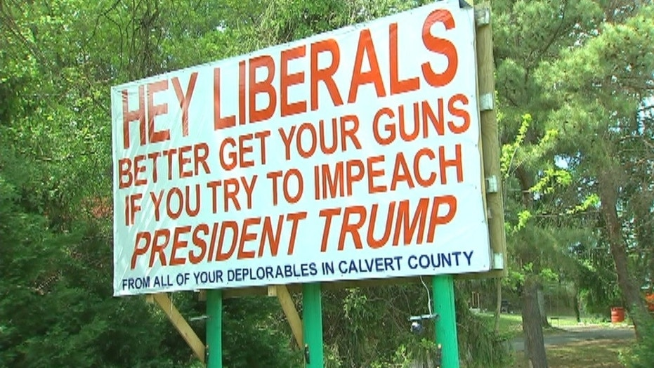 A billboard in Maryland appeared to warn citizens against trying to impeach President Trump.