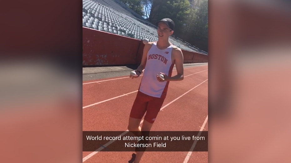 Zach Prescott, a rising senior at Boston University, broke the record for the fastest mile while 'joggling.'