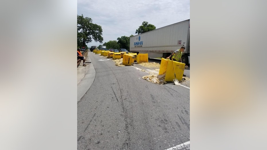 Cookie dough fell out of a truck traveling in North Carolina on this week, according to local media.
