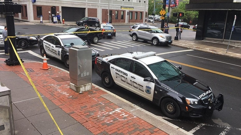 A Hartford, Connecticut police officer was stabbed in the neck while investigating a disturbance, police said.