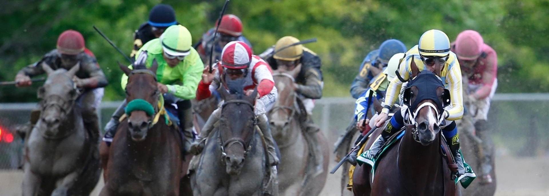 May 20, 2017; Baltimore, MD, USA; Julien R. Leparoux aboard Classic Empire (5) leads during the 142nd running of the Preakness Stakes at Pimlico Race Course. Mandatory Credit: Amber Searls-USA TODAY Sports - 10067088