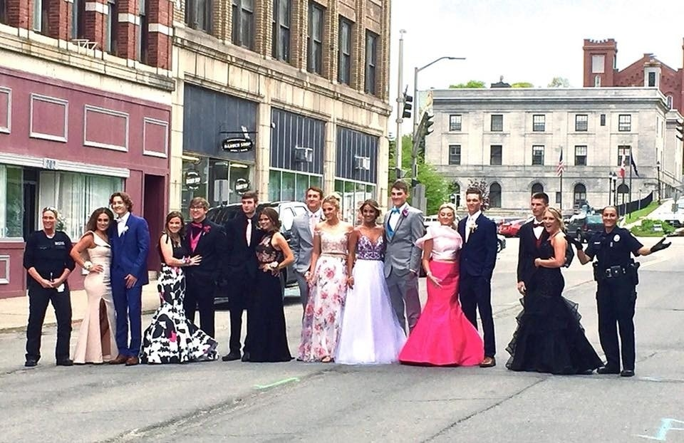 Maine high school students block street for prom photo as cops get in on the fun