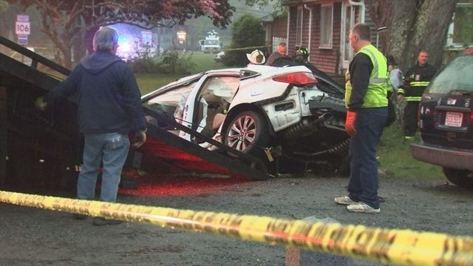 Four teenagers were killed in a violent car crash on Saturday south of Boston.