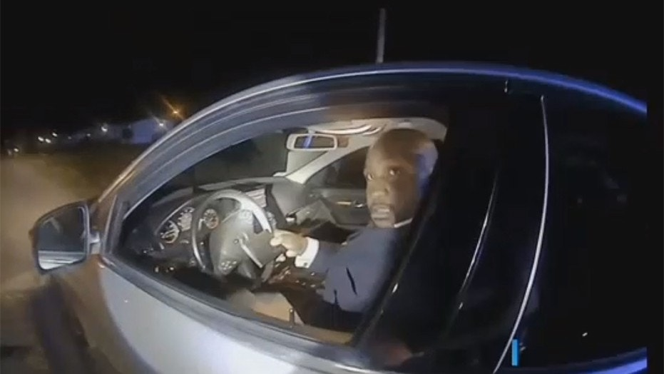 Image from police bodycam footage showing Rev. Jerrod Moultrie, the NAACP president of Timmonsville, S.C., during a traffic stop.