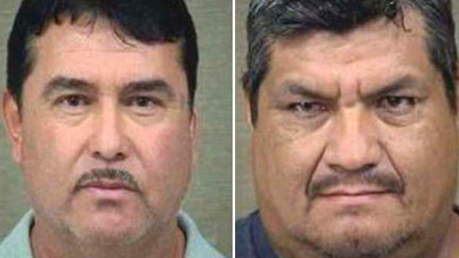 Raul Arreola, 48, and Aquileo Pineda, 49, were each booked for trafficking methamphetamine after police found the driver's side fuel tank of the truck they were driving was holding almost $91 million worth of liquid meth.