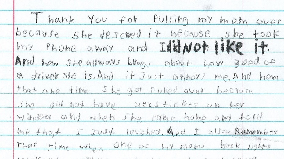 Texas boy 10 pens hilarious thank you note to fulshear officer who a boys letter to texas police included a personal touch thecheapjerseys Gallery