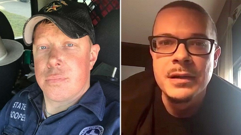 """Texas State Trooper Jarrod Hubbard (left), was sent """"thousands"""" of death threats, his father said, noting that Shaun King (right) didn't fully name another trooper, Daniel Hubbard, as the officer involved."""