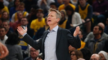 Apr 5, 2018; Indianapolis, IN, USA; Golden State Warriors coach Steve Kerr coaches on the sidelines against the Indiana Pacers during the first quarter at Bankers Life Fieldhouse. Mandatory Credit: Brian Spurlock-USA TODAY Sports - 10768439