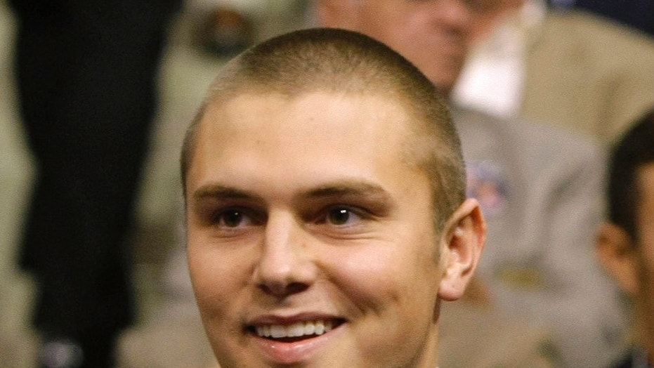 Track Palin, a son of Sarah Palin, is shown during the Republican National Convention in St. Paul, Minn., Sept. 3, 2008.