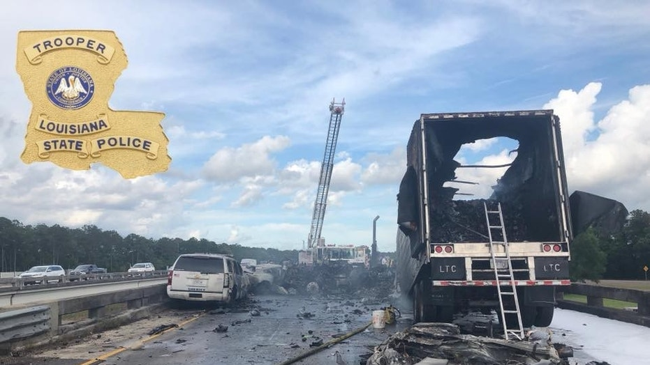 Four people were killed in a crash on a Louisiana interstate involving an 18-wheel hauling avocados, police said.
