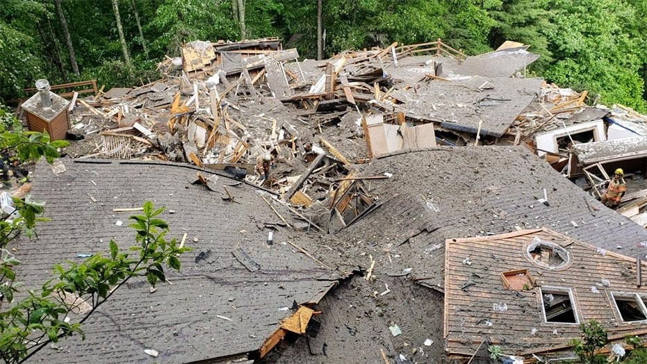 Floods triggered a structural collapse in the Heaven Mountain Area in North Carolina.