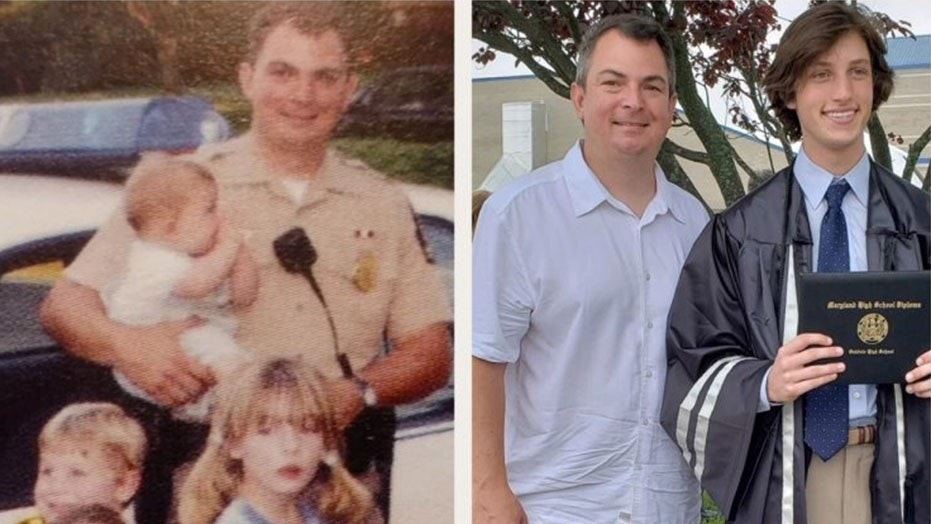 """Thomas Robert Duboyce said it was a """"nice surprise"""" to see Officer Robert Hunt, who helped deliver him, left, on the side of a highway in 1999, at his high school graduation Friday."""