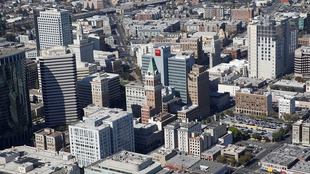 An aerial view of Downtown Oakland is seen in Oakland, California, U.S., October 5, 2017. REUTERS/Stephen Lam - RC11BEA2DE60
