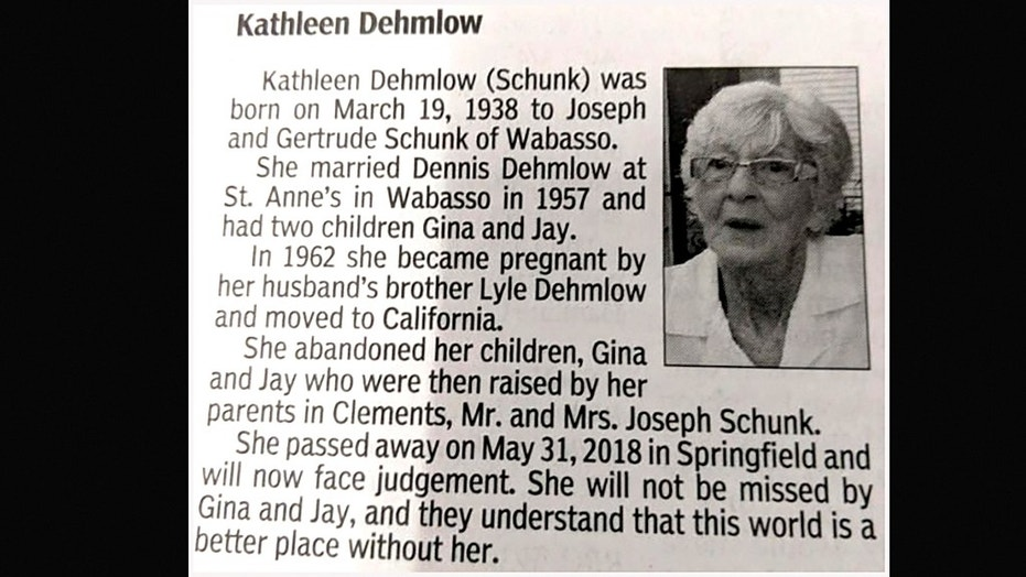 "The son who wrote Kathleen Dehmlow's harsh obituary says he's glad he was able to ""finally get the last word"" on his relationship with his estranged mother."