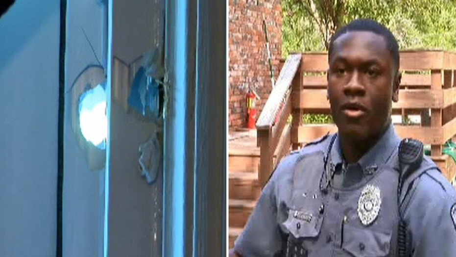 Sandersville police officer Corey Haynes said he arrived home to find that someone had shot multiple bullets into his home.