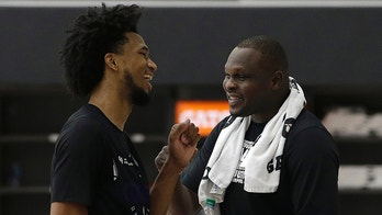 CORRECTS ID TO ZACH RANDOLPH STAND ALONE NOT DAVE JOERGER Marvin Bagley III, left, talks with Sacramento Kings forward Zach Randolph, left, after working out for the team, Monday, June 11, 2018. The Kings have the second pick in the upcoming NBA draft and Begley III, the former Duke star, is considered one of the top choices in the draft. (AP Photo/Rich Pedroncelli)
