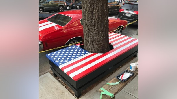 f07e6494598 American flag painter offers to paint wall of American Legion building with  flag bench – INKLING LEAGUE
