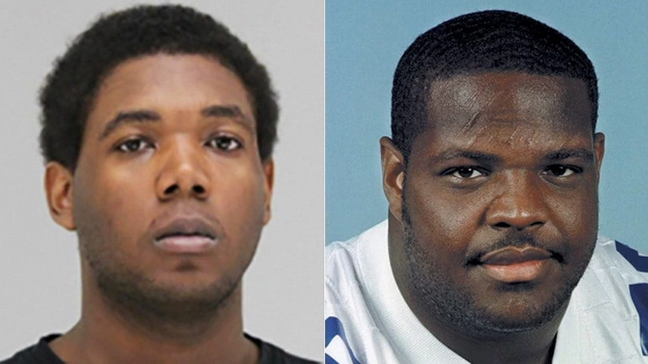 Cassius Shakembe Williams [left] the son of Dallas Cowboys great Erik Williams [right] was charged with two counts of capital murder.