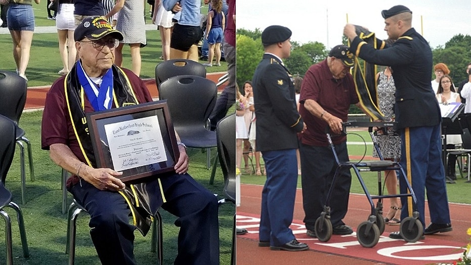 Vito Trause, 93, receives a high school diploma from Becton Regional High School in East Rutherford, New Jersey.