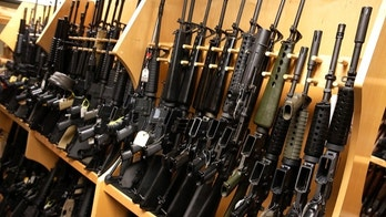 AR-15 rifles line a shelf in the gun library at the U.S. Bureau of Alcohol, Tobacco and Firearms National Tracing Center in Martinsburg, West Virginia December 15, 2015. The guns represent many of the models the ATF has come across in their investigations, and are collected through seizures from criminals or donations from manufacturers and members of the public.  Picture taken December 15, 2015.  REUTERS/Jonathan Ernst - WASEC1817J801