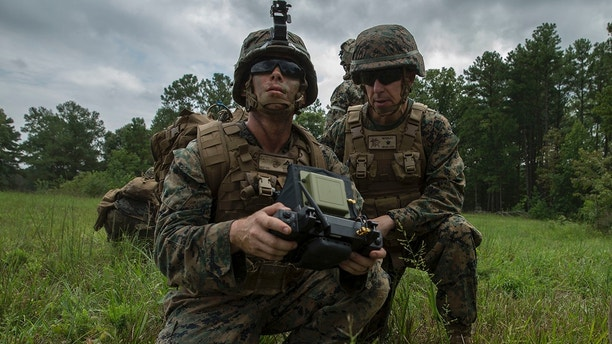 U.S. Marine Corps Lance Cpl. Ryan Skinner (center), assistant patrol leader, with Company Bravo, 1st Battalion, 6th Marine Regiment demonstrates the use of the Mark-2 Instant Eye for Brig. Gen. Benjamin Watson, assistant division commander of 2d Marine Division, during the Infantry Platoon Battle Course as part of a Deployment for Training (DFT) on Fort Pickett, VA., August 11, 2017. The Instant Eye is a small unmanned aerial system used to be deployed at the squad level for quick and local surveillance and reconnaissance. (U.S. Marine Corps photo by Lance Cpl. Michaela R. Gregory)