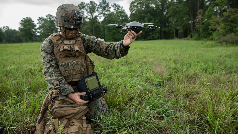 U.S. Marine Corps Lance Cpl. Ryan Skinner, assistant patrol leader, with Company Bravo, 1st Battalion, 6th Marine Regiment prepares to fly the Mark-2 Instant Eye during the Infantry Platoon Battle Course as part of a Deployment for Training (DFT) on Fort Pickett, VA., August 15, 2017. The Instant Eye is a small unmanned aerial system used to be deployed at the squad level for quick and local surveillance and reconnaissance. (U.S. Marine Corps photo by Lance Cpl. Michaela R. Gregory)