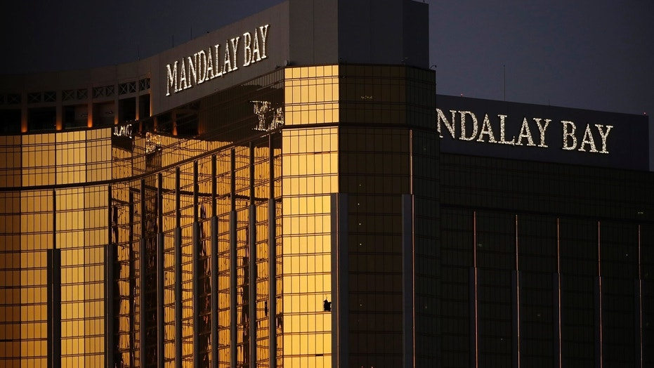 Windows are broken at the Mandalay Bay resort and casino in Las Vegas, Oct. 3, 2017, two days after gunman Stephen Paddock broke them and began firing with a cache of weapons, killing dozens and injuring hundreds.
