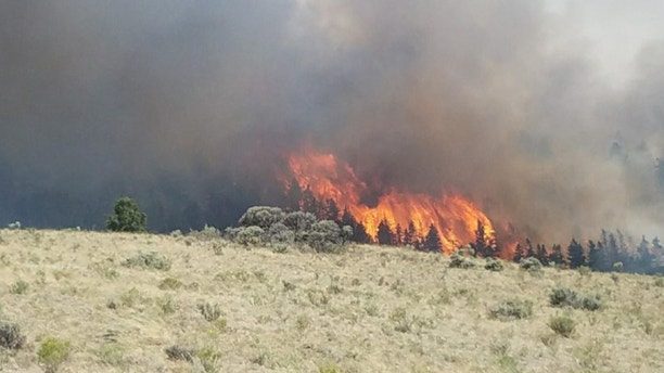 Flames rise past a ridge during efforts to contain the Spring Creek Fire in Costilla County, Colorado, U.S. June 27, 2018.  Costilla County Sheriff's Office/Handout via REUTERS