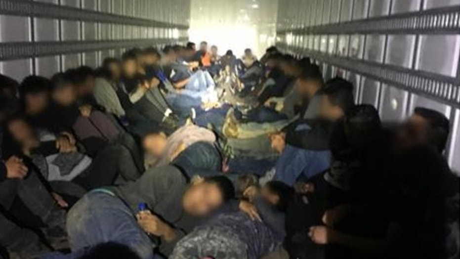 More than 60 illegal immigrants were rescued from tractor trailers and 9 U.S. citizens were arrested by Border Patrol agents in five separate incidents over the weekend.