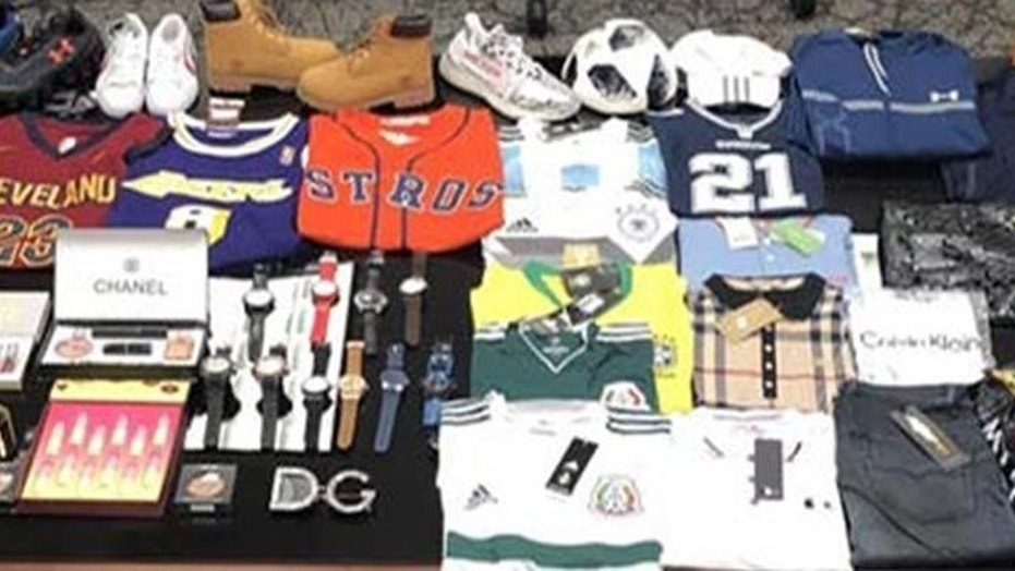 More than 180,000 counterfeit items were seized by ICE in Laredo, Texas last month.