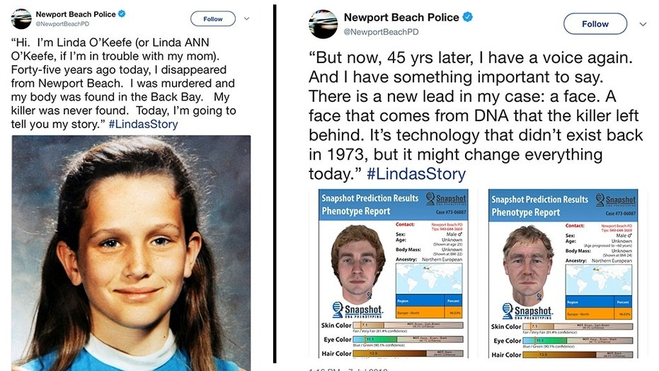 This tweet from July 7, 2018 by the Newport Beach Police Department shows Linda O'Keefe, an 11-year-old girl kidnapped while walking home from school on July 6, 1973. The girl's body was found the following morning in a nature preserve. The Newport Beach Police department suspended its normal Twitter content to draw attention to Linda's case and posted as if Linda herself were talking to the audience. (Newport Beach Police Department via AP)